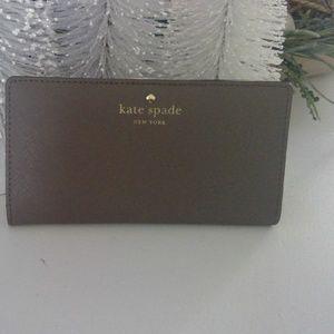 Kate Spade NY Mikas pond gray saffiano wallet